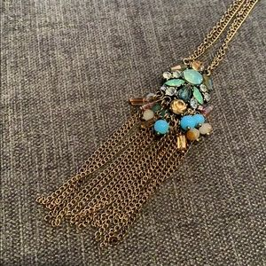 EUC Long jewel statement necklace